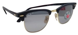 Ray-Ban Polarized CLUBMASTER Ray-Ban Sunglasses RB 3016 901S/P2 51-21 Black & Gold Frame w/ Grey Lenses