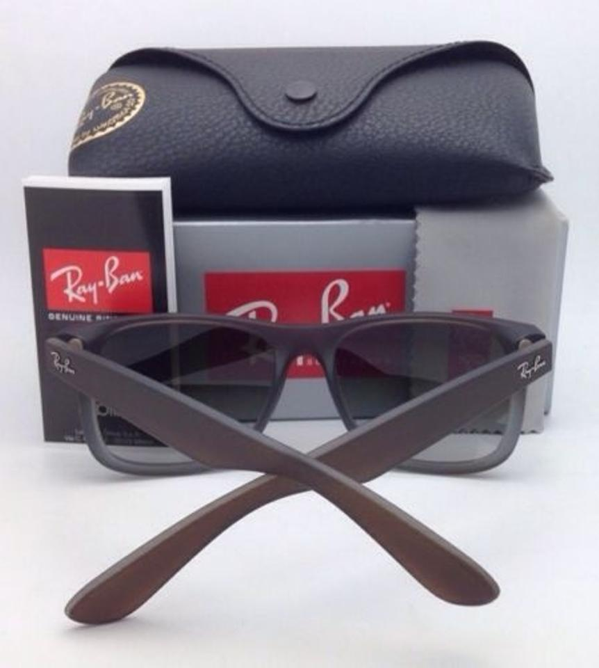 Ray-Ban Justin Rb 4165 854/7z Rubber Brown On Grey W/ Green Fade ...