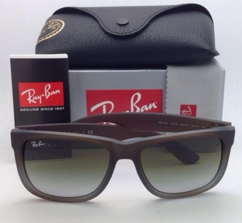 51d14b7c35 Ray-Ban Justin Rb 4165 854 7z Rubber Brown On Grey W  Green Fade Lens 854 7z  Frames Sunglasses - Tradesy