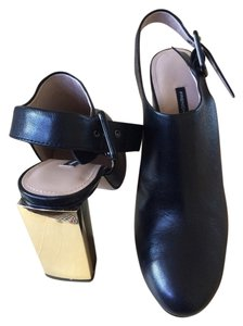 French Connection Black Gold Pumps