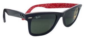 Ray-Ban New RAY-BAN Sunglasses RB 2140 1016 50-22 Black On Red text Frame w/ Crystal Green lenses