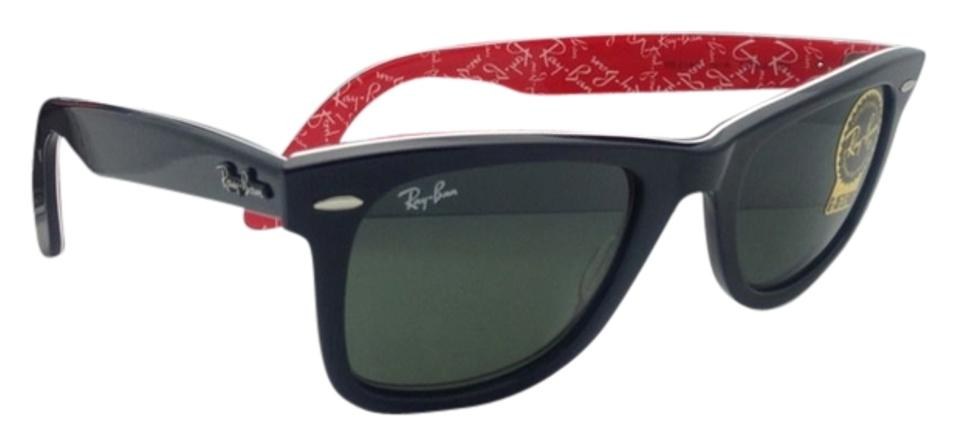 ea4f321a4f7 Ray-Ban Rb 2140 1016 50-22 Black On Red Text W Crystal Green Lenses ...