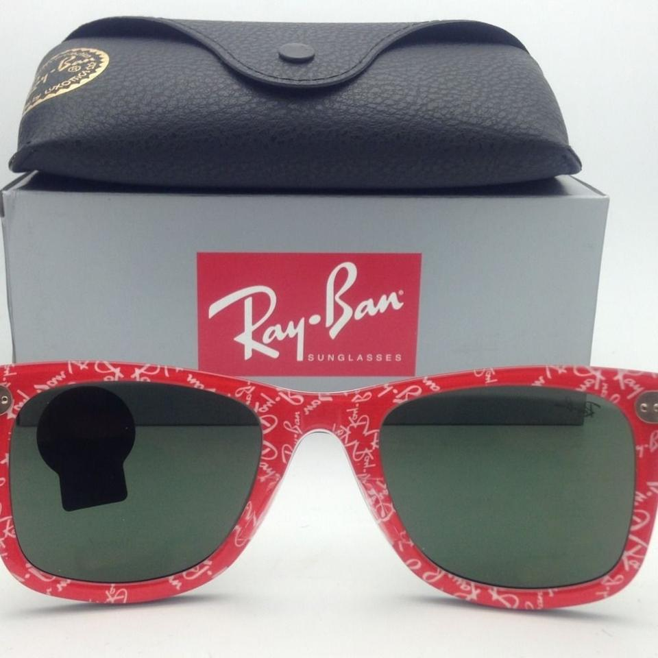 382606e6419 Ray-Ban Rb 2140 1016 50-22 Black On Red Text W Crystal Green Lenses New  Frame W  Sunglasses - Tradesy