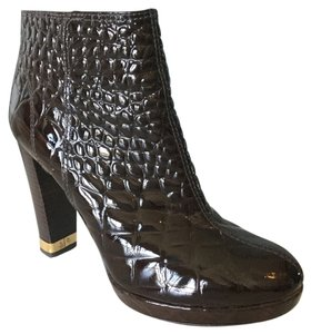 Tory Burch Brown Croc embossed Patent Leather Boots