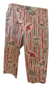 ITW by Claude Brown Capris Off White with multi color design