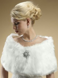 White Faux Fur Wedding Wrap