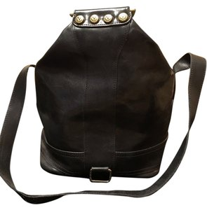 Vallentina Leather Metallic Hardware Hobo Bag