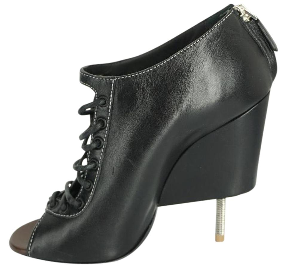 6ab6febc91 Givenchy Black Leather Nissa Open Toe Lace Up Ankle Pumps Boots ...