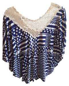 Sweet Claire Lace Trim Flowy Polka Dot Top navy