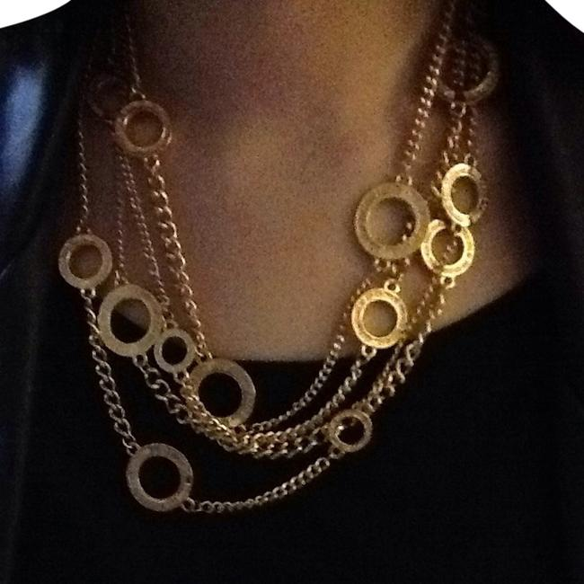 Gold Tone Circle Of Love Multi Chain Necklace Gold Tone Circle Of Love Multi Chain Necklace Image 1