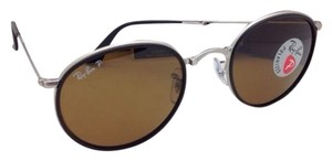 Ray-Ban New Polarized RAY-BAN Folding Sunglasses RB 3517 019/N6 48-22 Silver Frame w/ Brown Lenses