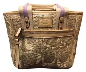 Coach Canvas Leather Seams Satchel in Beige Lavender