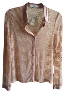 Forever 21 Lace Longsleeve Button Down Shirt pink
