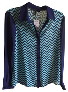 Forever 21 Chevron Longsleeve Button Down Shirt blue