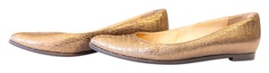 Lanvin Embossed Leather Metallic Bronze Flats