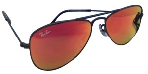 Ray-Ban Junior Collection Kids Ray-Ban Sunglasses RJ 9506-S 201/6Q Black Aviator Frame w/ Red Mirror Lenses