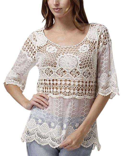 Love2skiVT Crocheted Scoop Neck Out Date Night Top Ivory