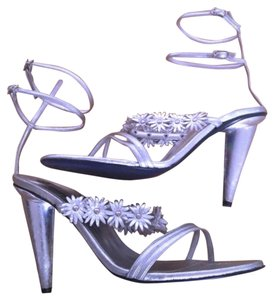 Free Lance Lace Up Leather Silver Pumps