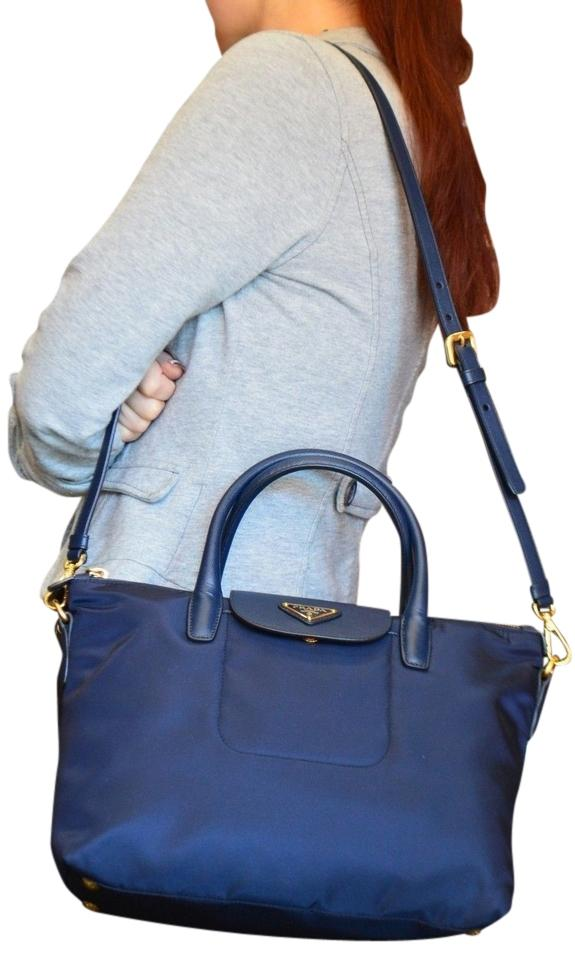 066125080af9 Prada Bn2106 Tessuto Nylon Saffiano Leather 2 Way Navy Gold Mini Small Tote  Satchel Shoulder Shopper ...