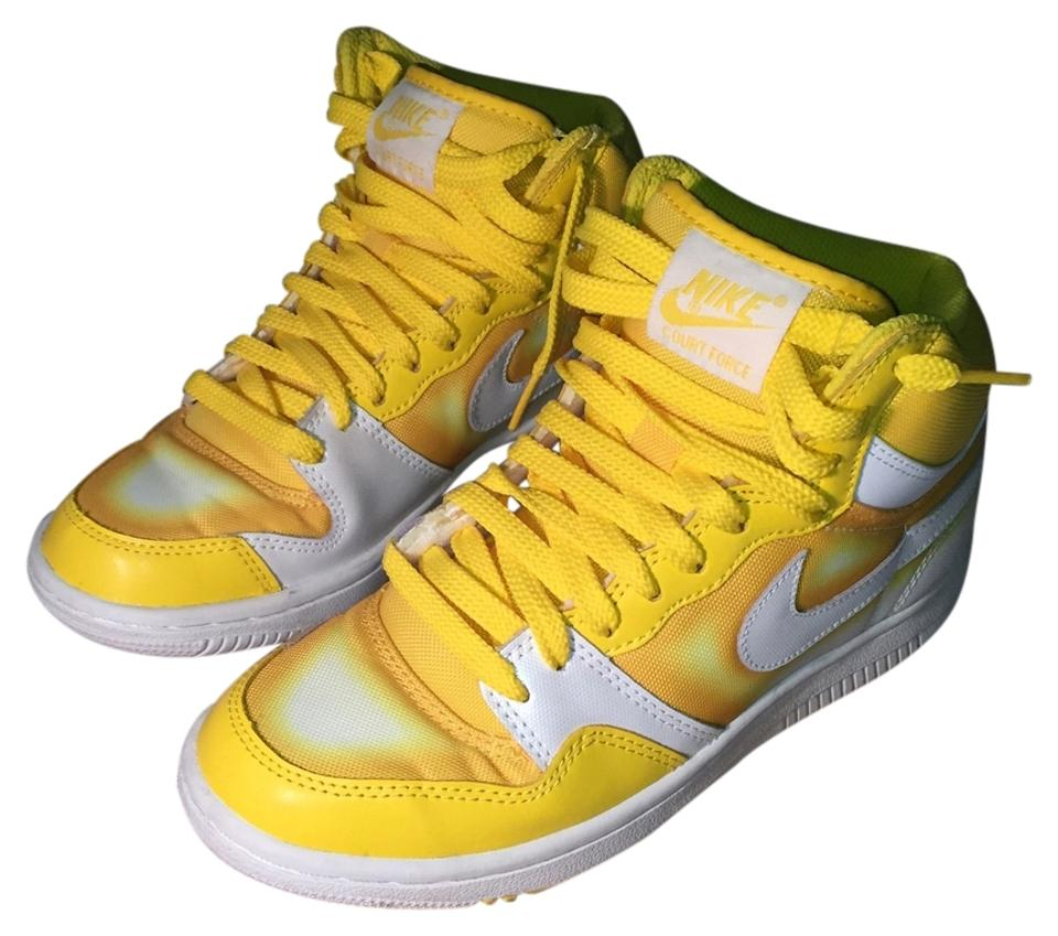 new product d4041 6e3b2 Nike White  Yellow Spray Paint Effect Womens Court Force High Sneakers