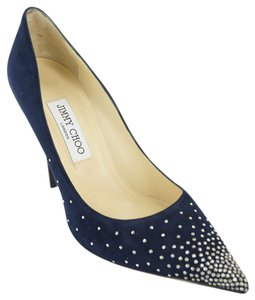 Jimmy Choo Stars High Heels Studded Nib Blue Pumps