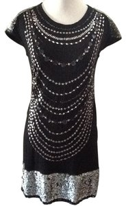 Black silver Maxi Dress by Nicole Miller Sequin Night Out
