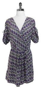 Amanda Uprichard short dress Purple/White Silk on Tradesy