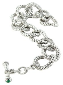 Judith Ripka Judith Ripka Sterling Pave Diamonique Oval Link Toggle Bracelet
