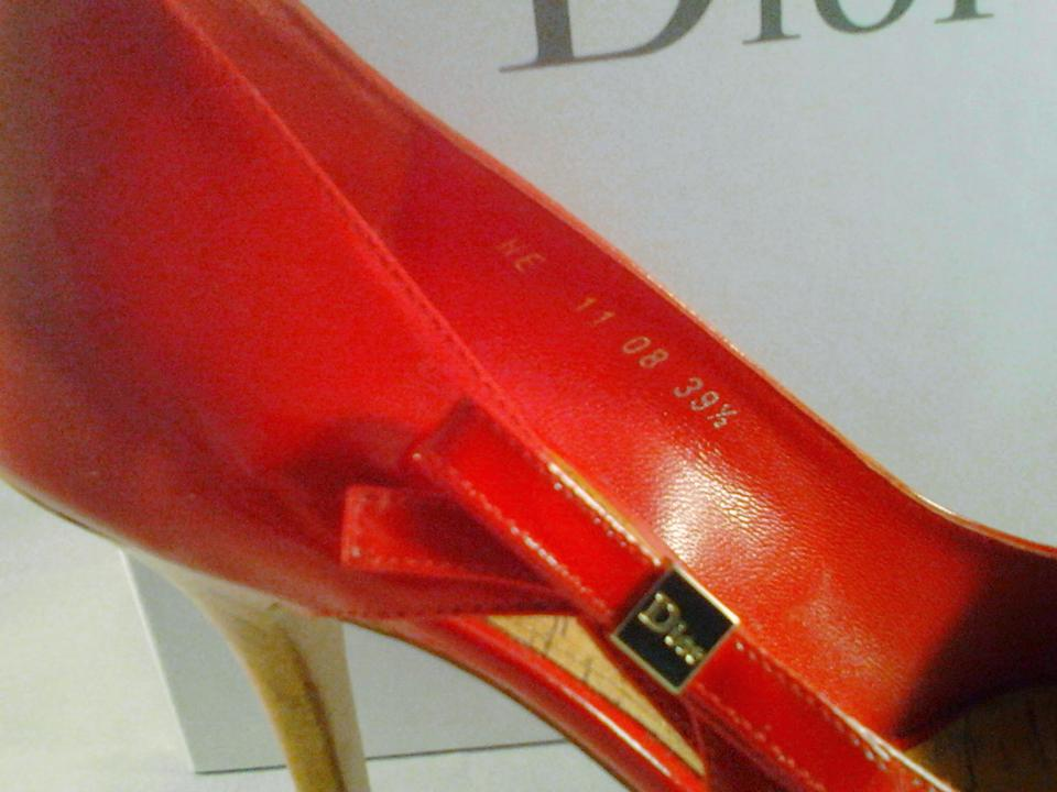 9708ca82a1 Dior Deep Red Wooden Cork Bottoms and Heel Christian Leather Open ...