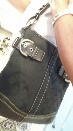 """Coach """"C"""" Fabric Leather Strap Shoulder Handle Signature Tag Tag On Orig Chain Tote in Black"""