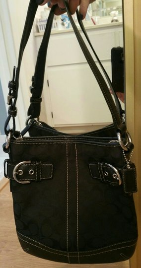 "Coach ""C"" Fabric Leather Strap Shoulder Handle Signature Tag Tag On Orig Chain Tote in Black"