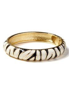 Banana Republic Banana Republic Gold Zebra Enamel Gold Hinged Cuff Bracelet