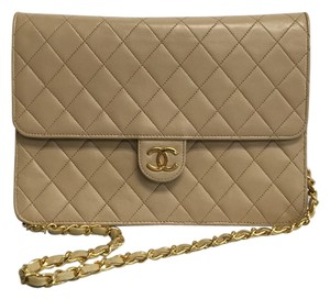 Chanel Quilted Front Flap Rectangular Chain Gold Shoulder Bag