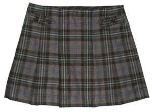 Gap Pleated Side Zipper Mini Skirt Gray, Black & Blue Tartan Plaid