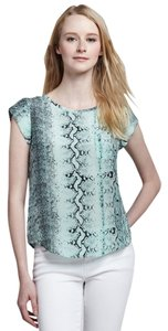 Joie Snakeprint Animal Print Top Green