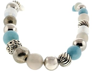 David Yurman NEW-David Yurman Sterling Silver Aqua,Quartz,Chalcedony Bead Necklace