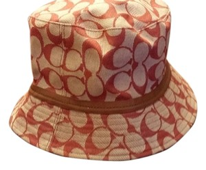 Coach Authentic Coach Red fabric with Brown Leather Trim Bucket Hat
