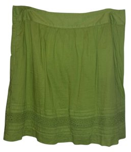Ann Taylor LOFT Casual Cotton Flowy Summer Skirt Green