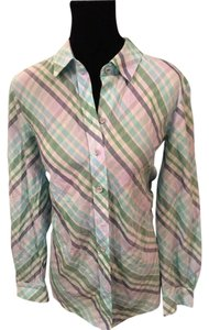 Coldwater Creek Button Down Shirt Multi Color Striped
