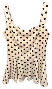 Charlotte Russe Peplum Polka Dot Top Black/white