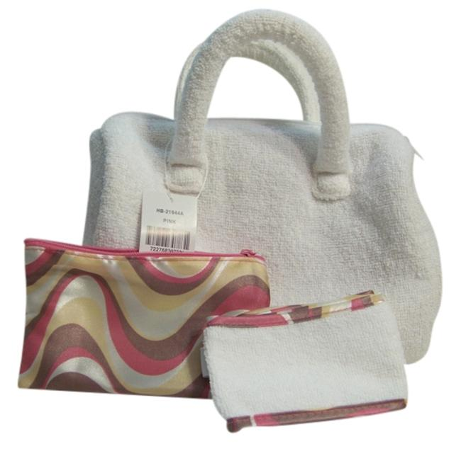 Item - White/Pink Toiletry Cosmetic Bag