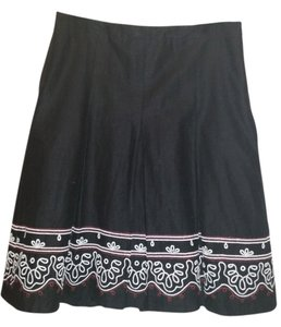 Ann Taylor LOFT Linen Embroidered Pleated Summer Skirt Black