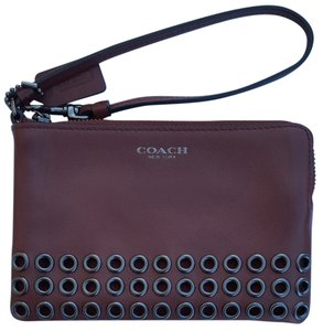 Coach Leather Wallet Wristlet in mahogany brown