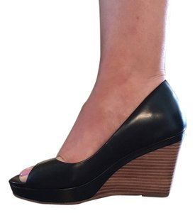 Cole Haan Black Leather Wedges