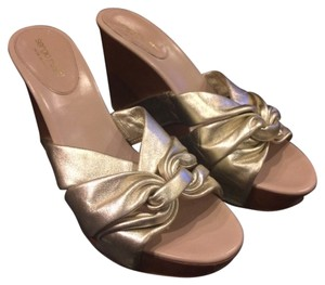Sergio Rossi Gold Nude Wedges