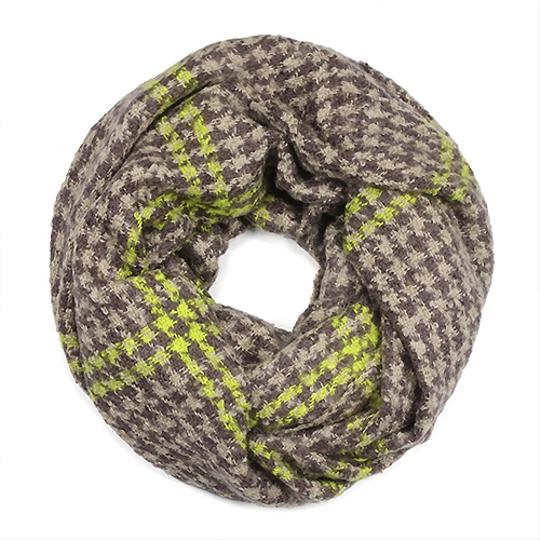 Other Winter Hound Tooth Boucle Yarn Woven Knitted Infinity Scarf