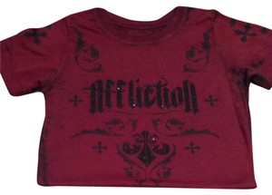 Affliction T Shirt Deep Red With Black Embellishments