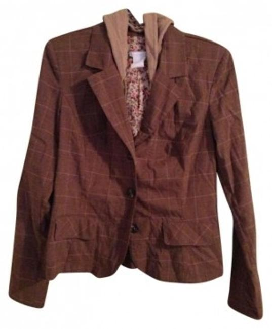Charlotte Russe Removable Hood Brown plaid Blazer