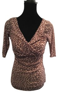 Weston Wear Top Brown Cheetah Print