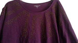 Coldwater Creek Beaded Design Casual Comfortable T Shirt Dark Purple